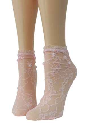 Rose Pink Mesh Socks with frill and beads