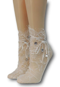 Milky White Mesh Socks with beads