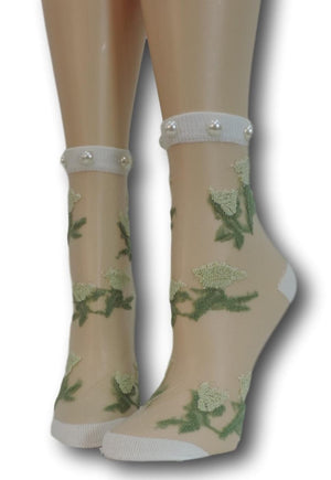 Nifty Green Flowers Sheer Socks with beads