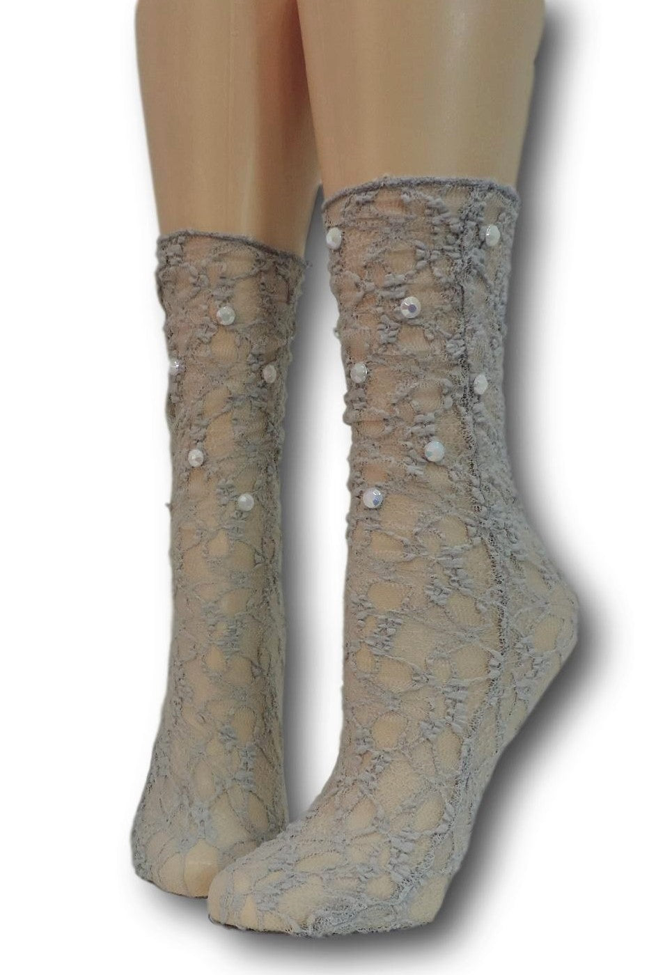 Smoke Grey Mesh Socks with beads
