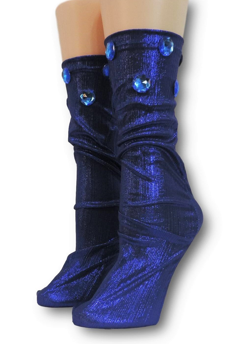 Navy Reflective Socks with beads