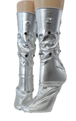 Metallic Silver Reflective Socks with beads