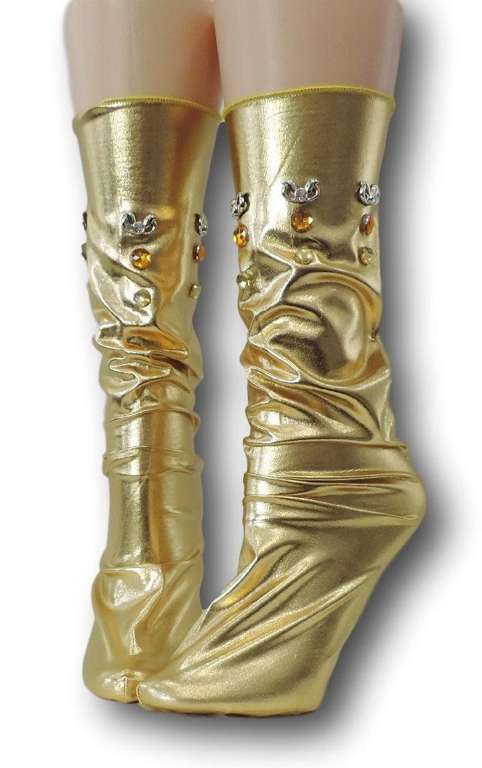 Metallic Gold Reflective Socks with beads