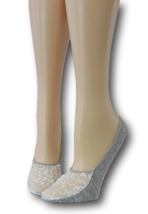 Cloud Grey Ankle Socks with White Mesh Top and beads