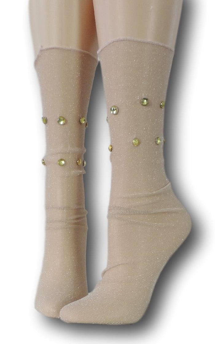 Rich Gold Tulle Socks with beads