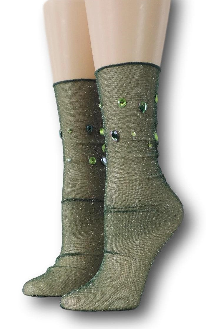 Nature Green Tulle Socks with beads