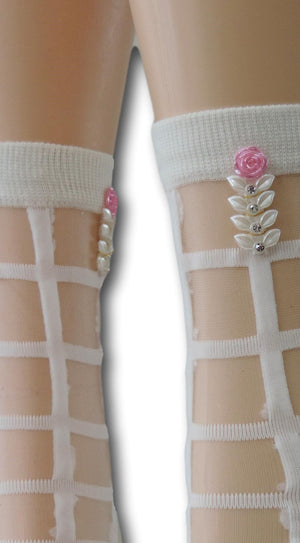White Square Sheer Socks with beads