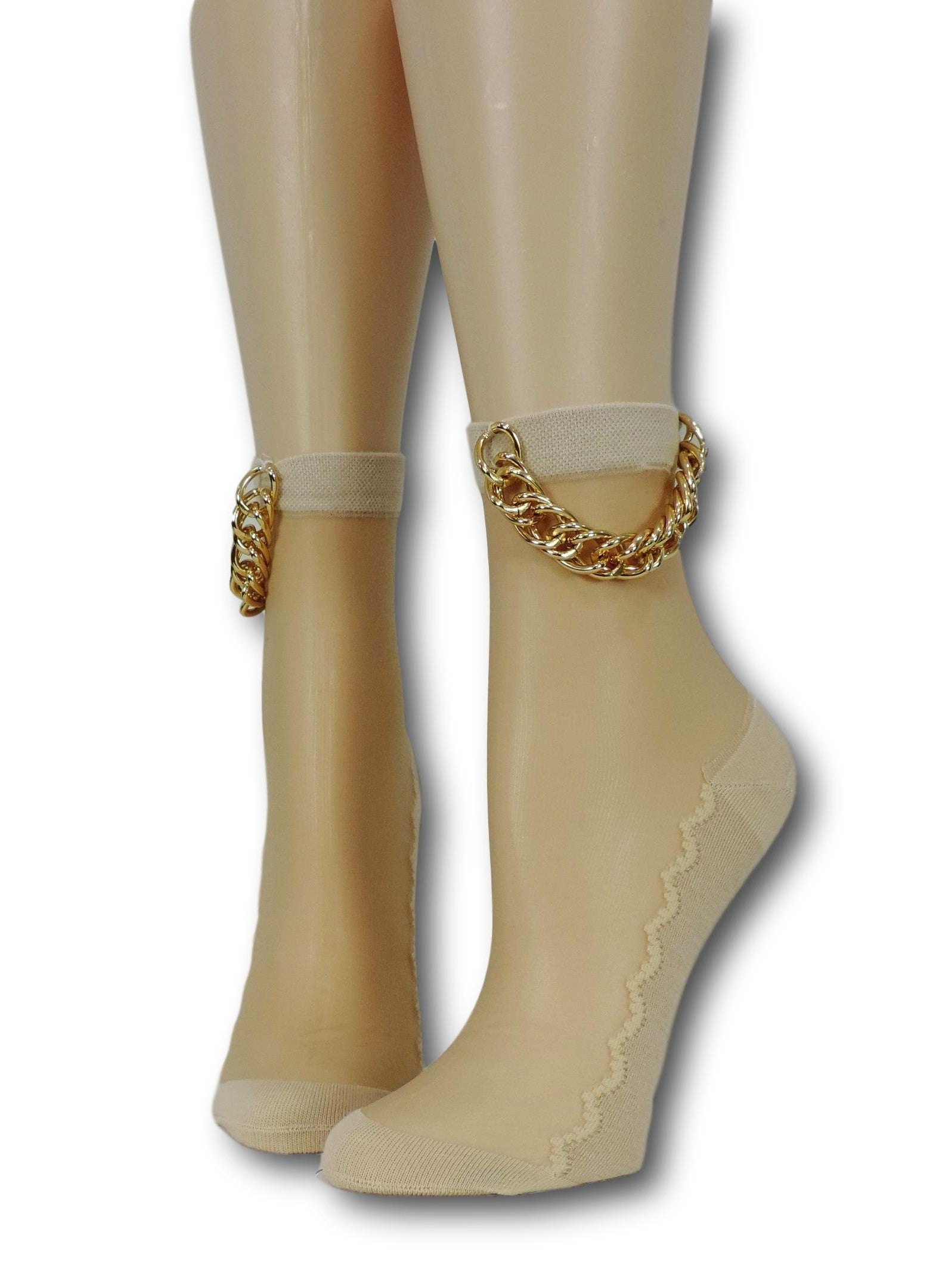 Beige Hip Hop Socks with Chain - Global Trendz Fashion®