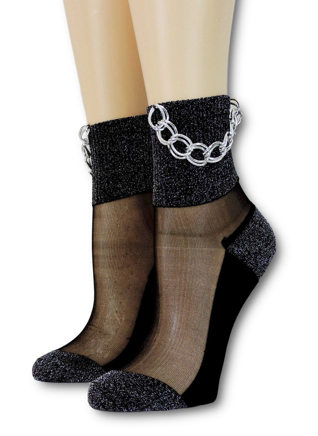 Glitter Hip Hop Socks with Chain - Global Trendz Fashion®