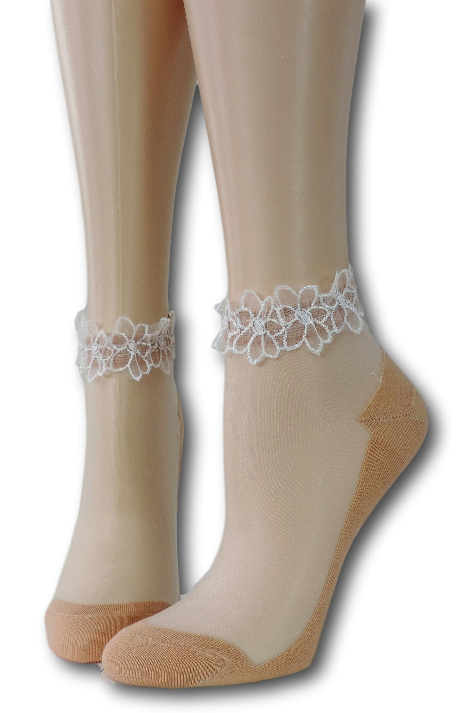 Cute Beige Ankle Sheer Socks