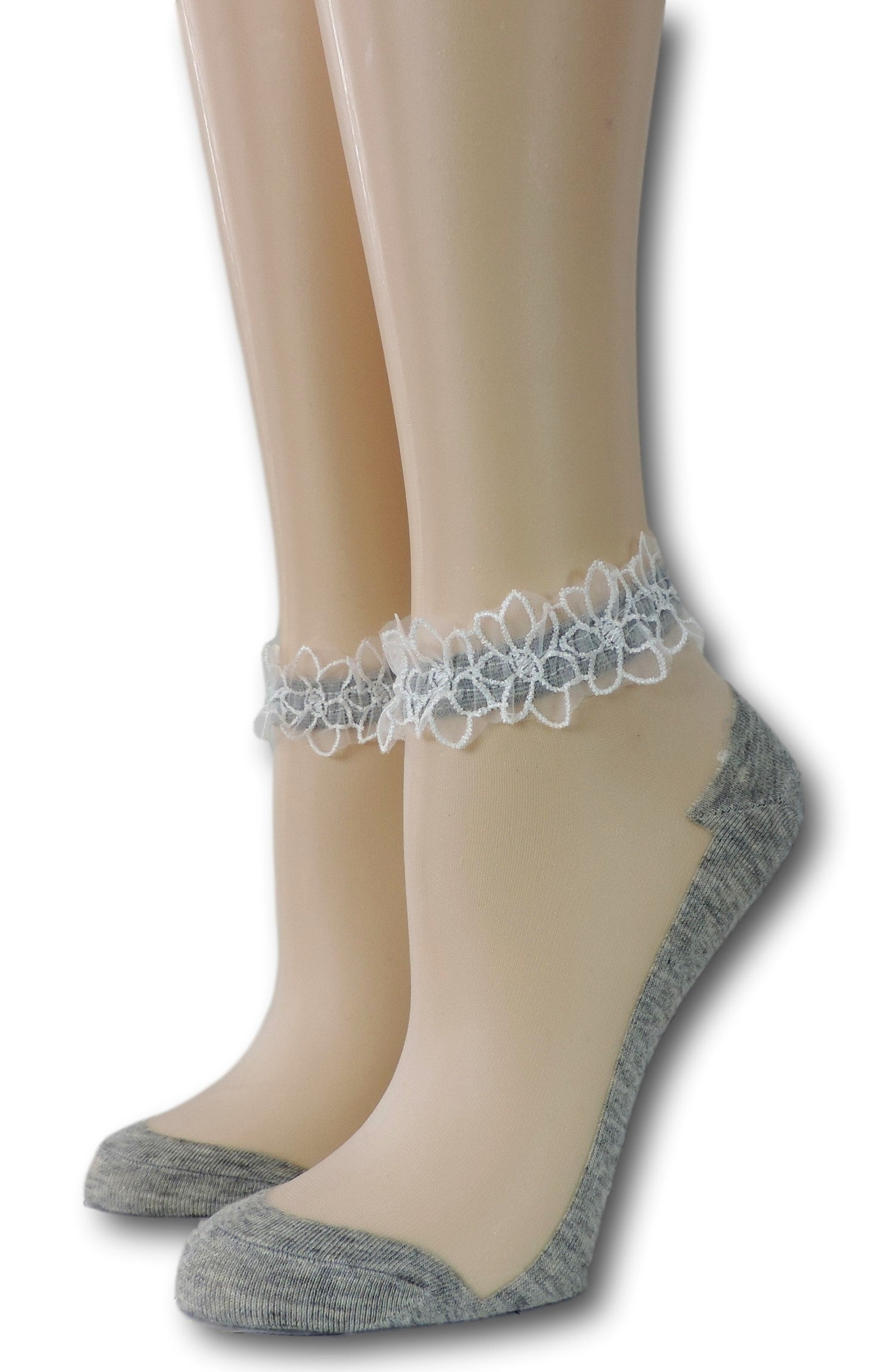 Thick Grey Ankle Sheer Socks