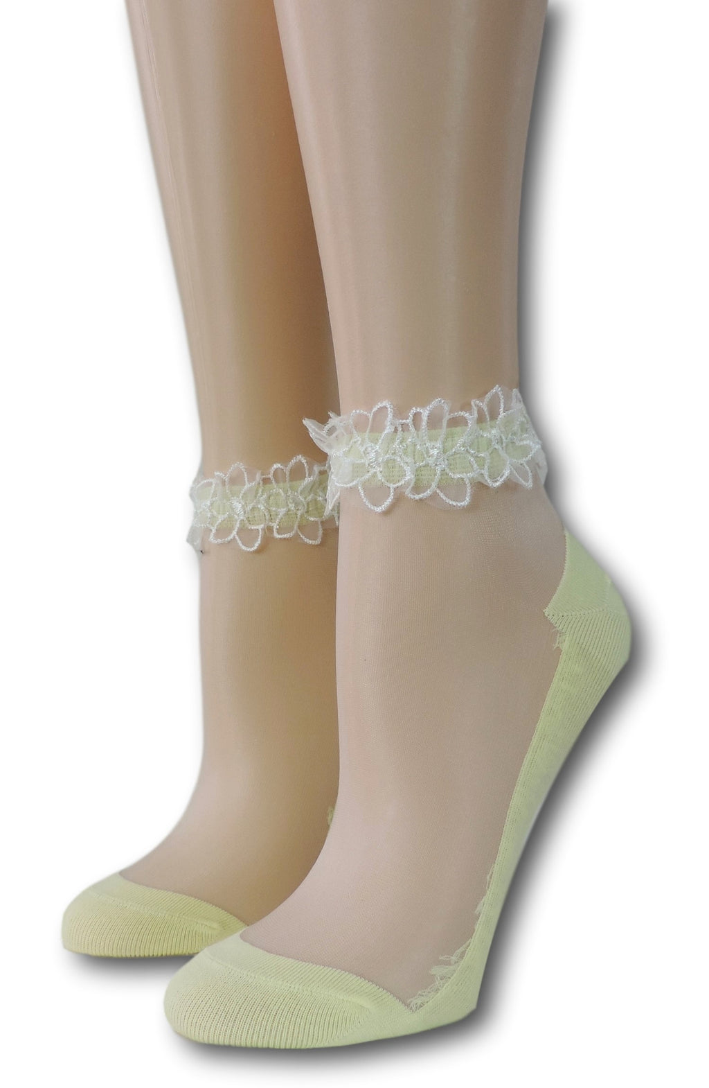 Yellow Ankle Sheer Socks