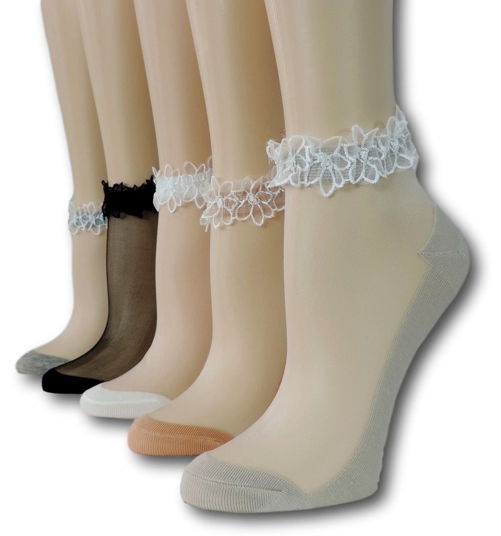 Ankle Sheer Socks with Lace (Pack of 5 Pairs)