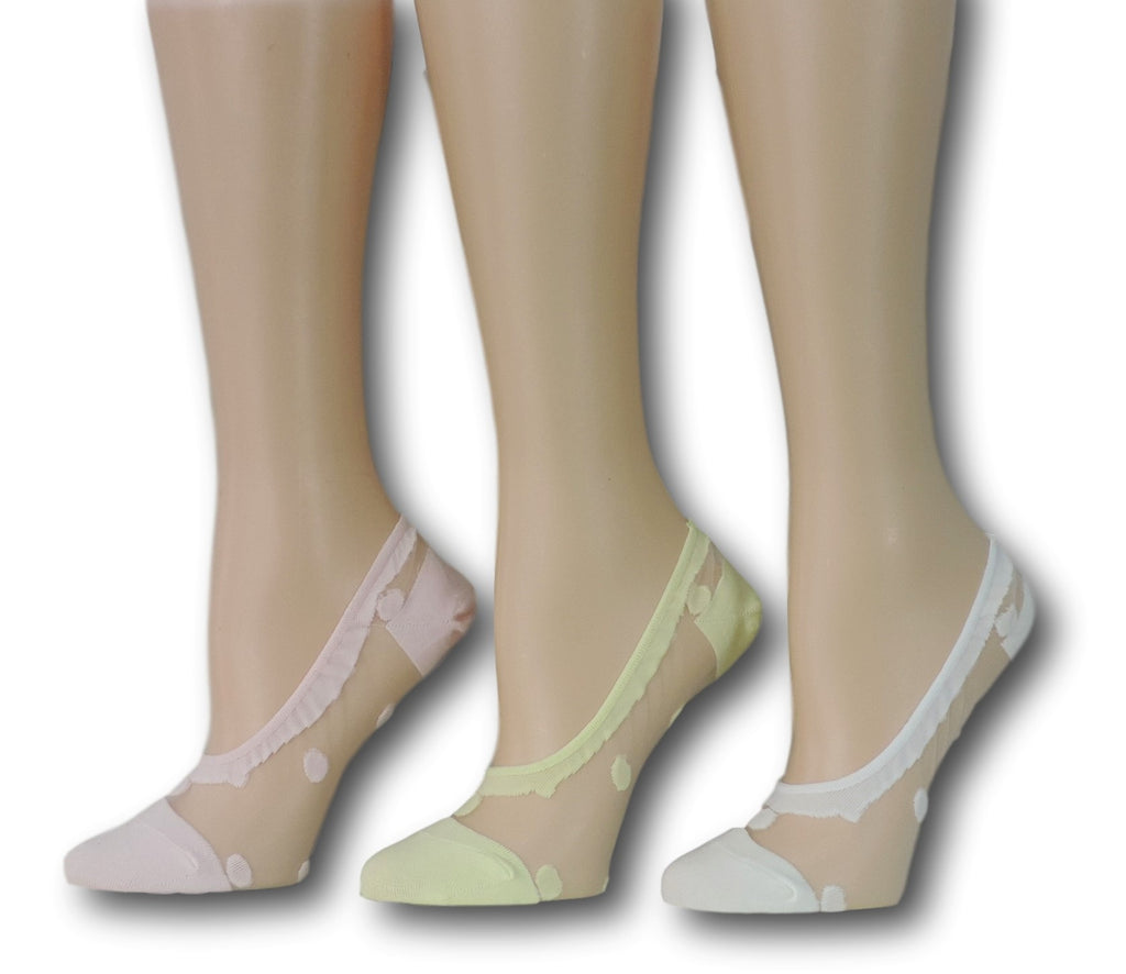 No Show Polka Sheer Socks (Pack of 3 Pairs)