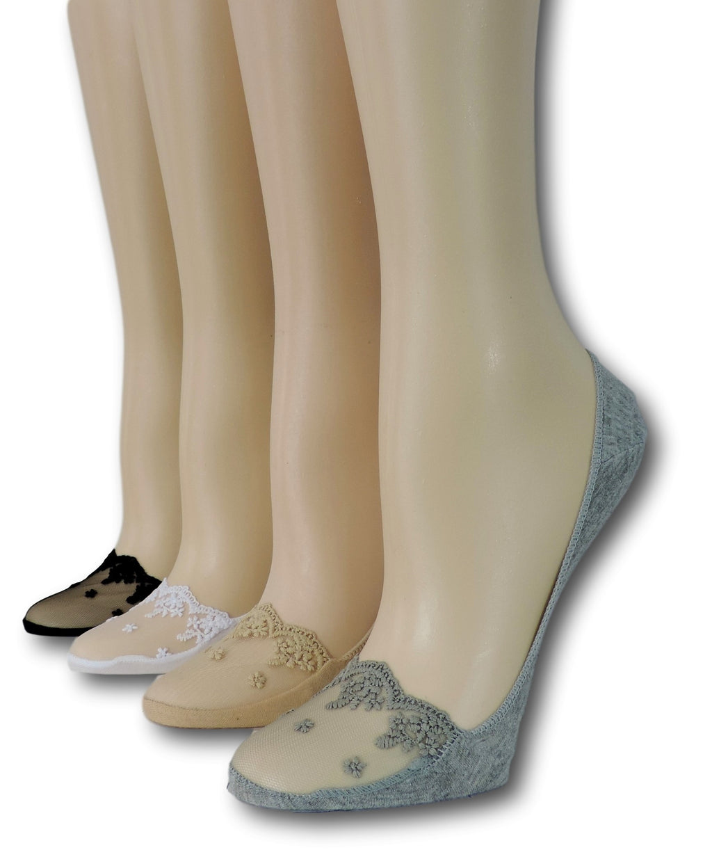 Fancy No Show Sheer Socks (Pack of 4 Pairs)