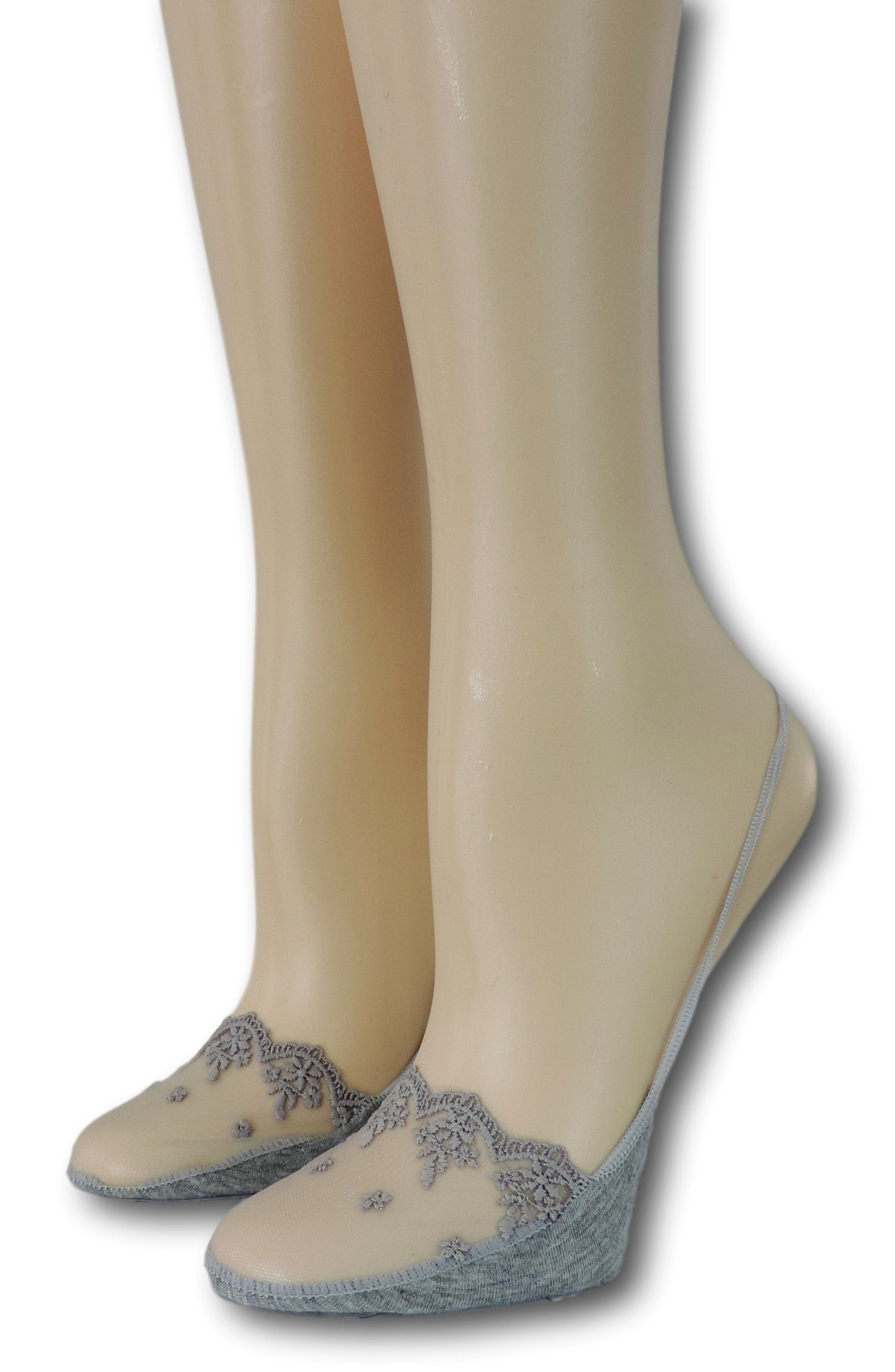Fancy Slingback Grey Sheer Socks
