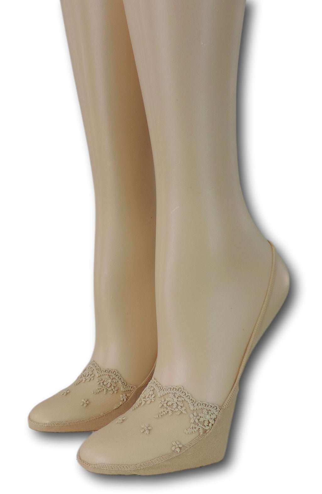 Fancy Slingback Beige Sheer Socks