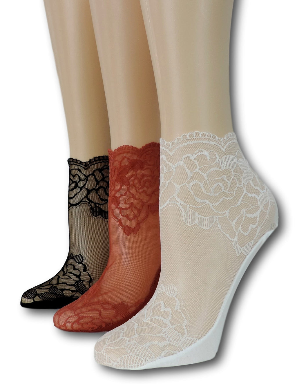 Rose Sheer Socks (Pack of 3 Pairs)