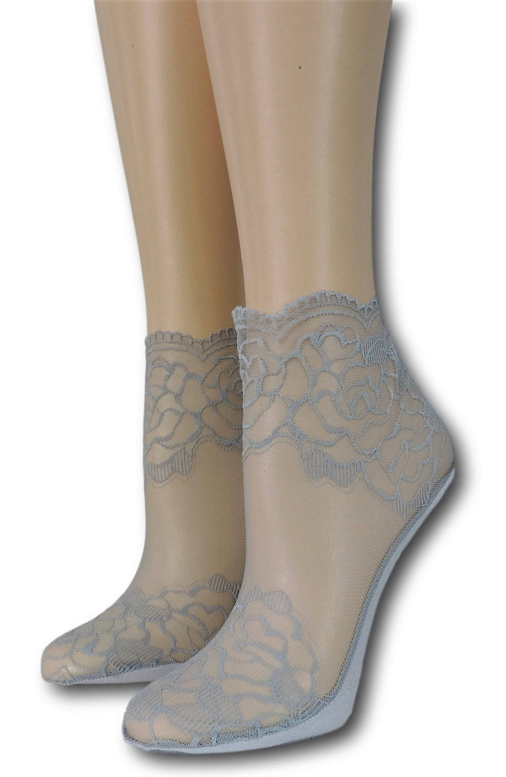 Grey Rose Ankle Sheer Socks