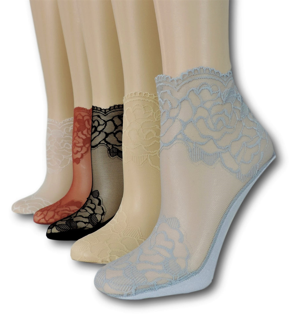 Rose Sheer Socks (Pack of 5 Pairs)