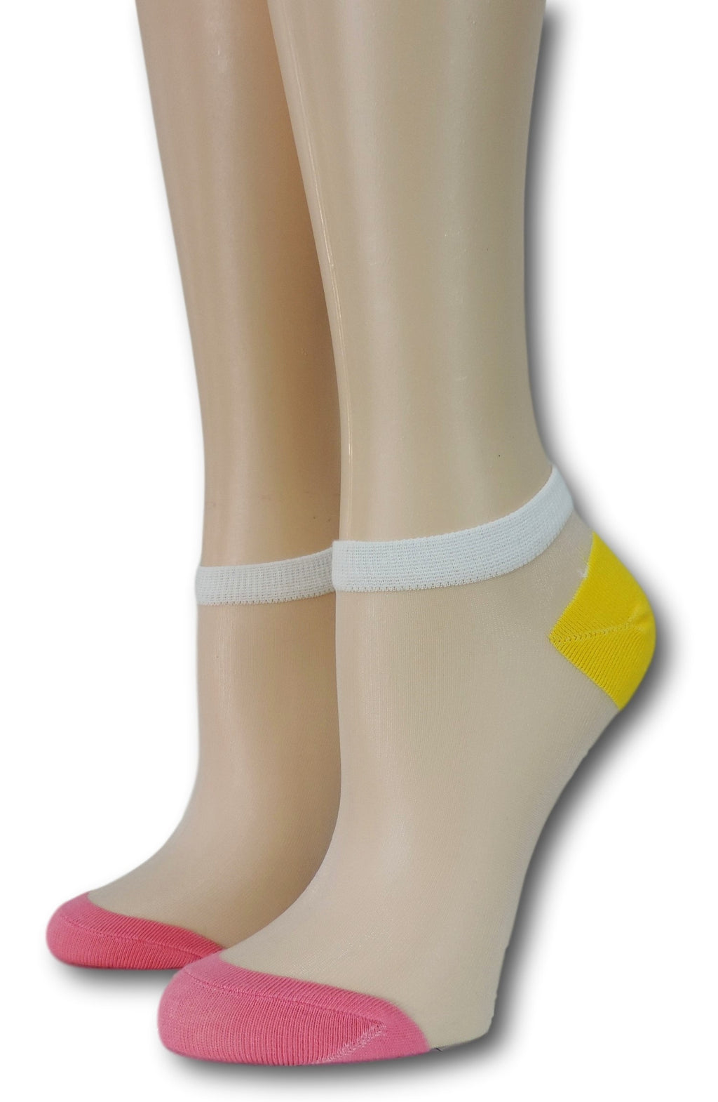 Pink-Yellow Ankle Sheer Socks