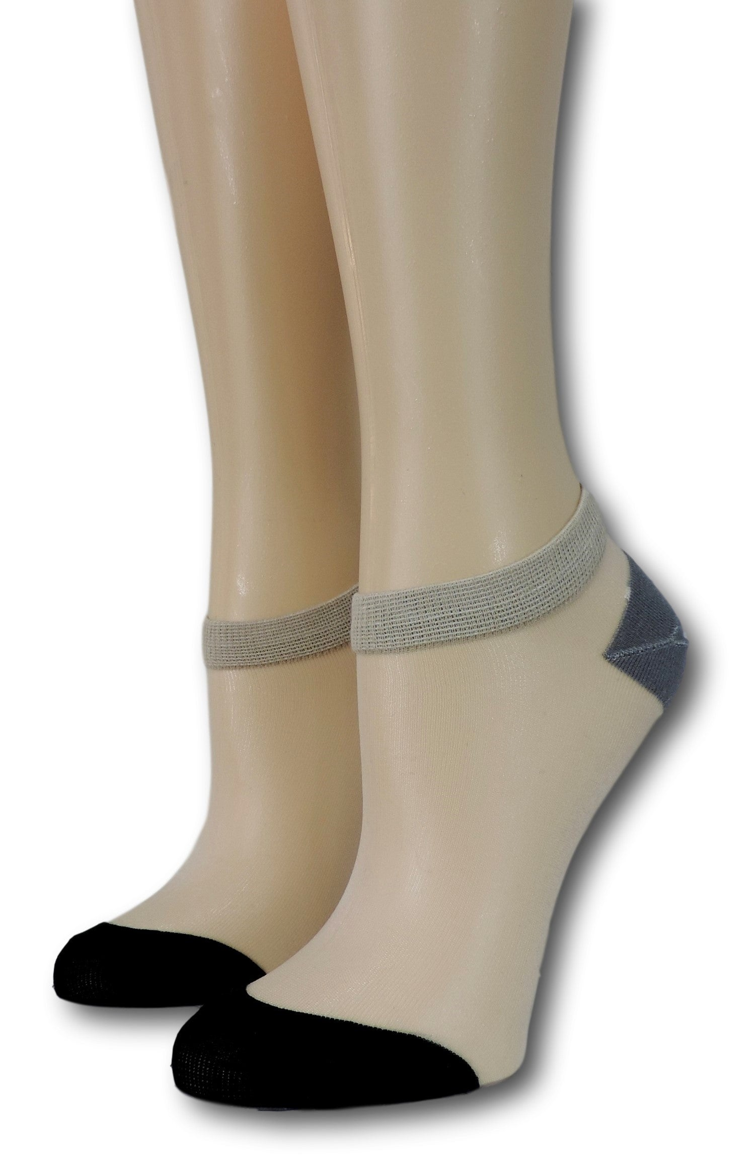 Black-Grey Ankle Sheer Socks