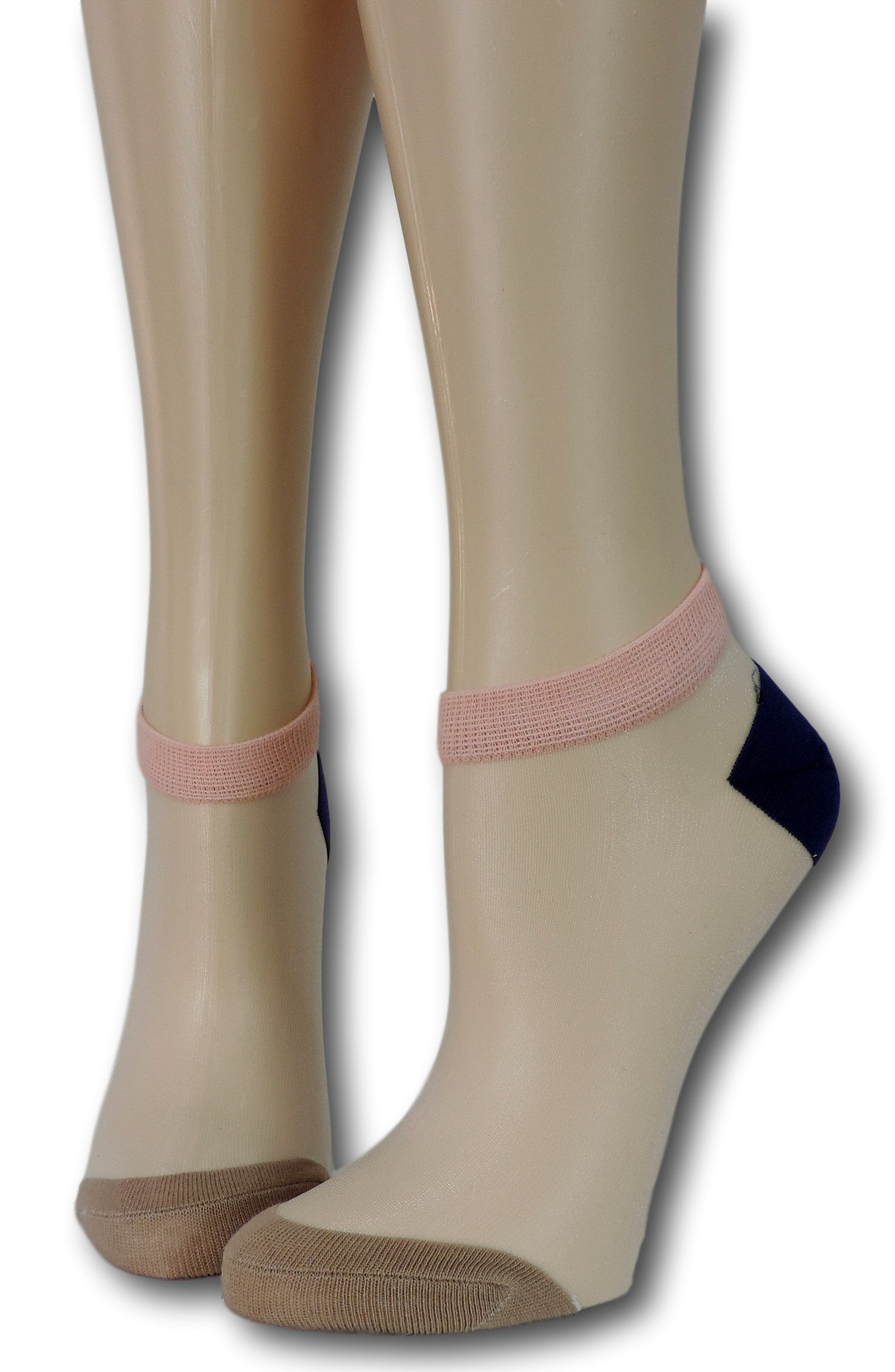 Brown-Black Ankle Sheer Socks