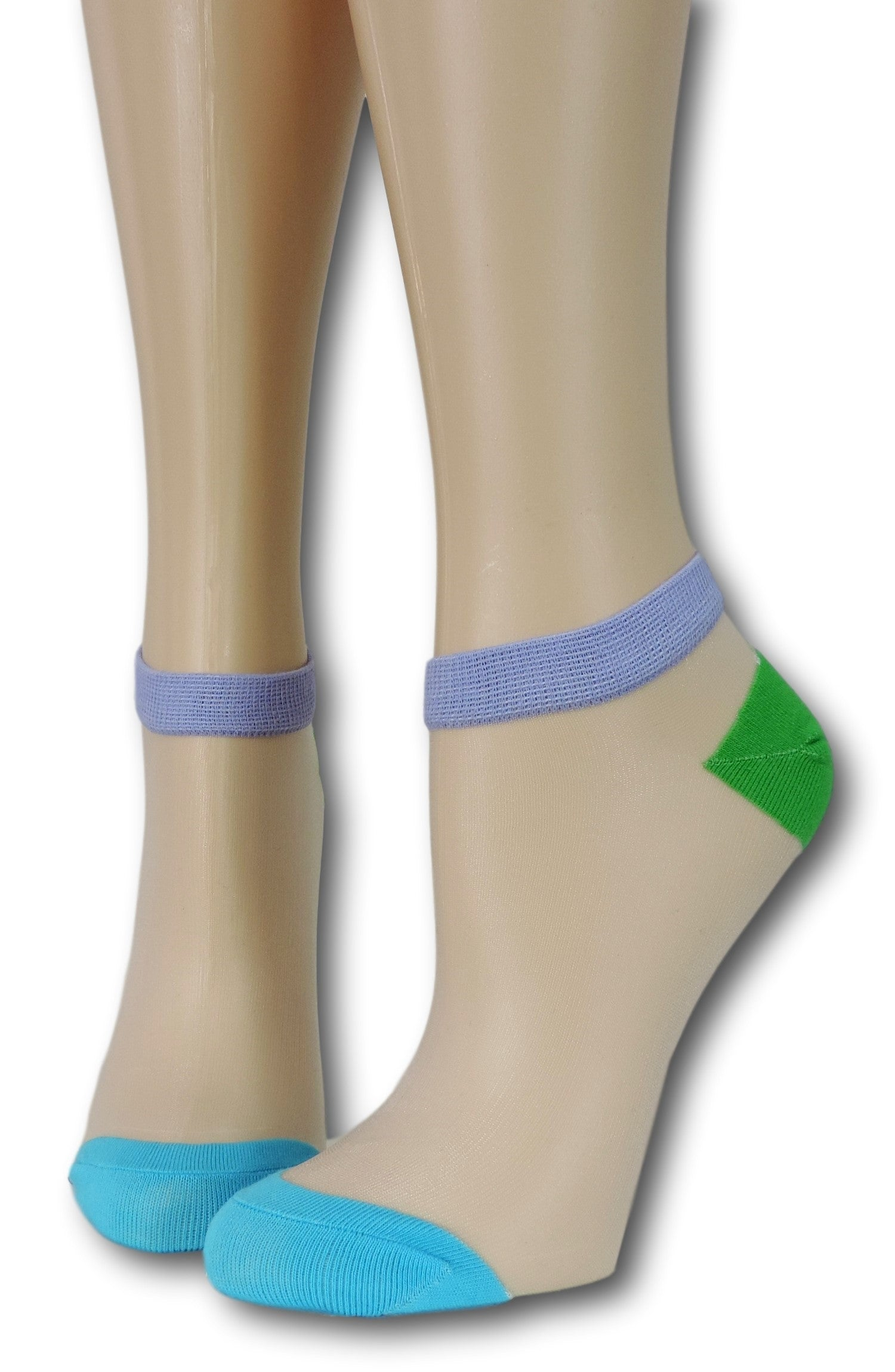 Blue-Green Ankle Sheer Socks