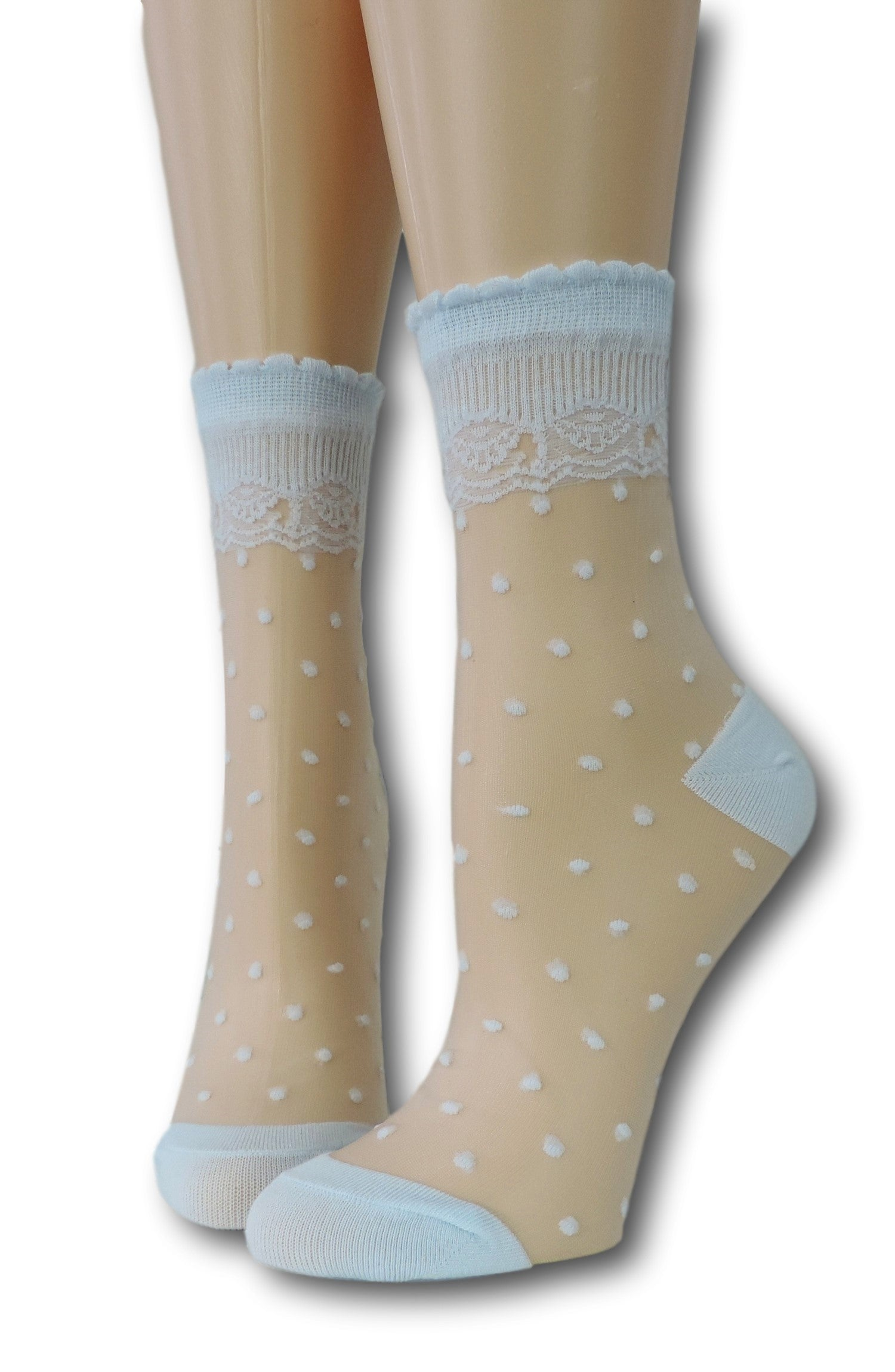 Blue Royal Dotted Sheer Socks