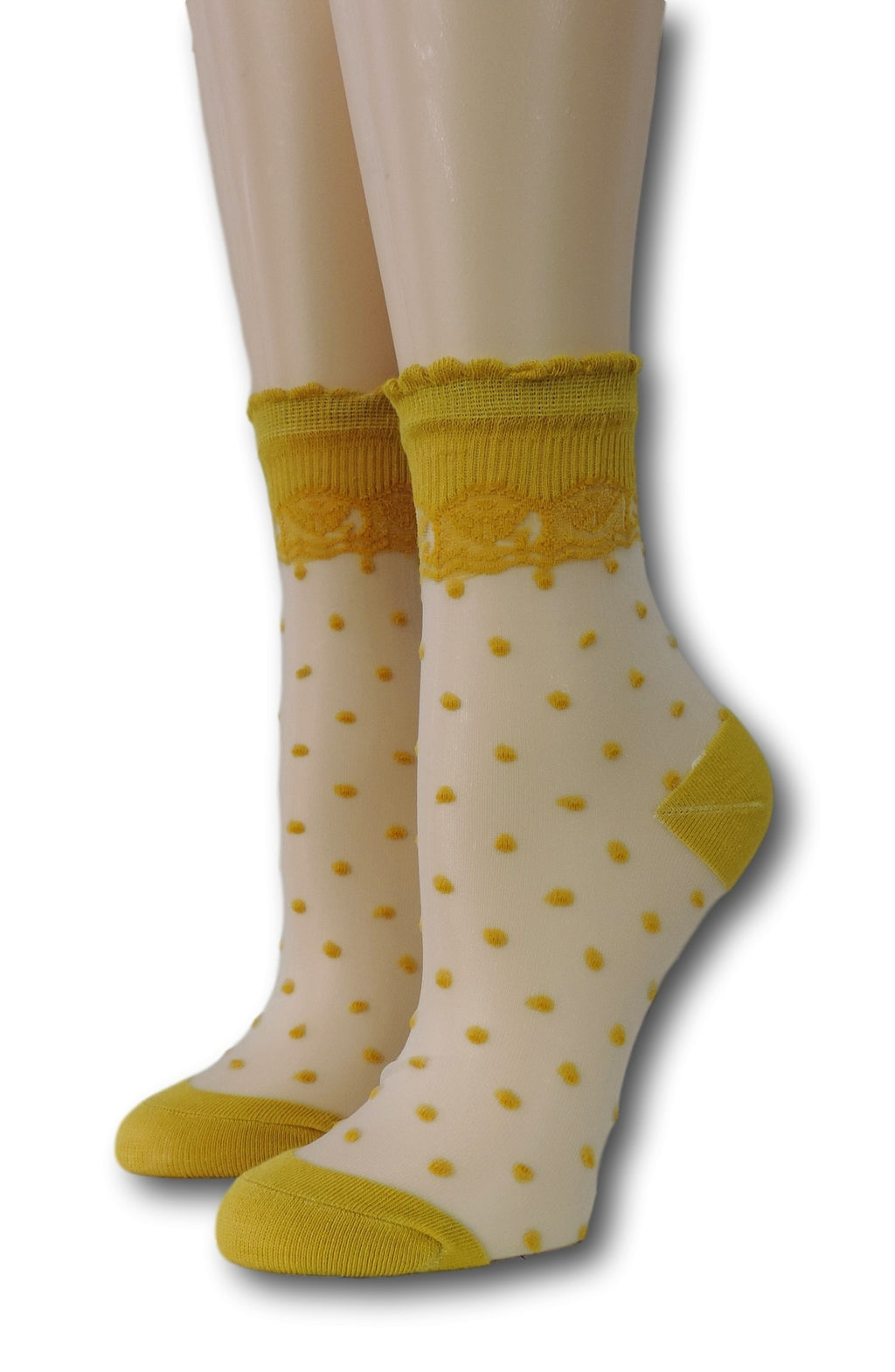 Mustard Royal Dotted Sheer Socks