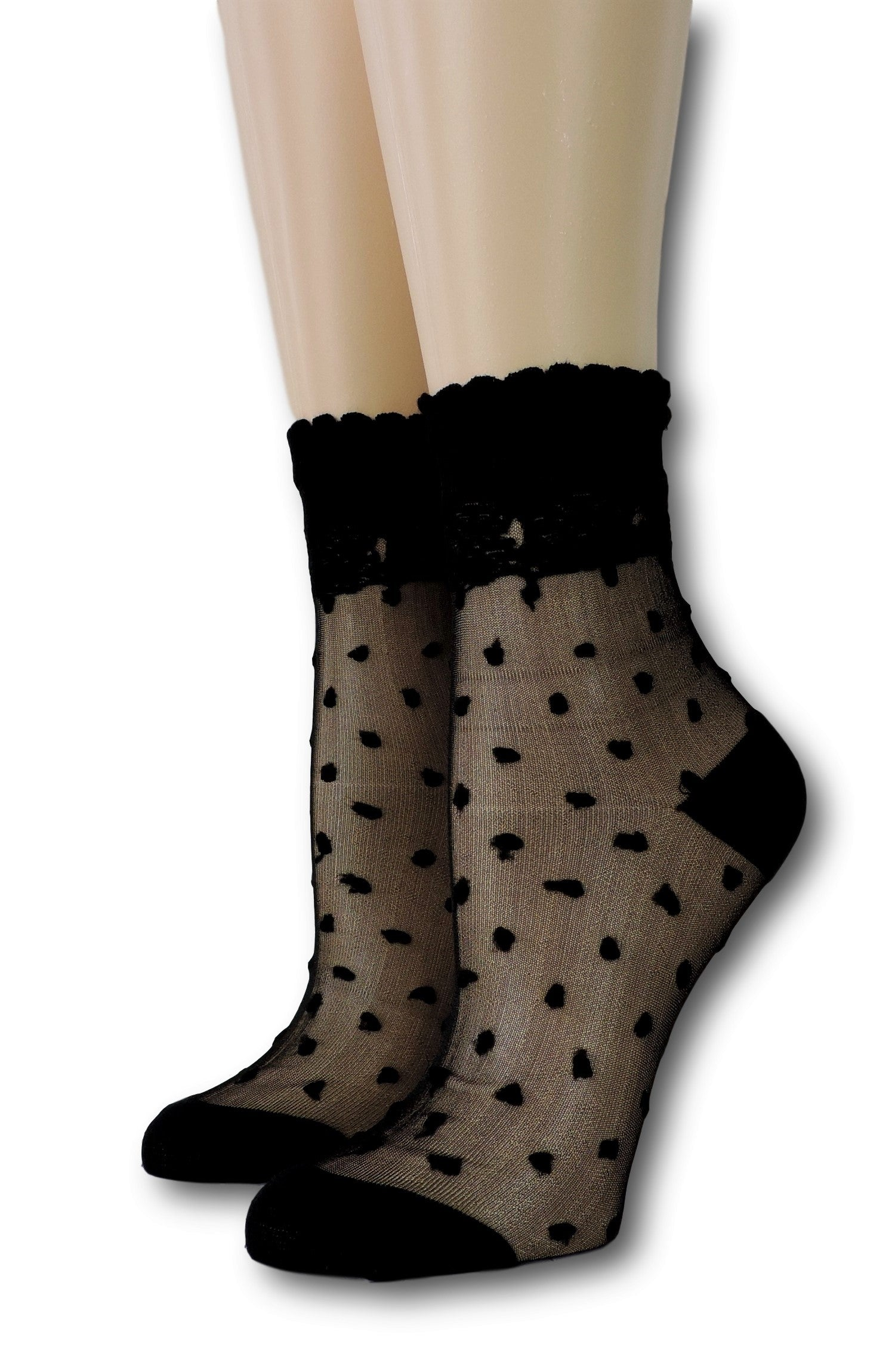 Ivory Royal Dotted Sheer Socks