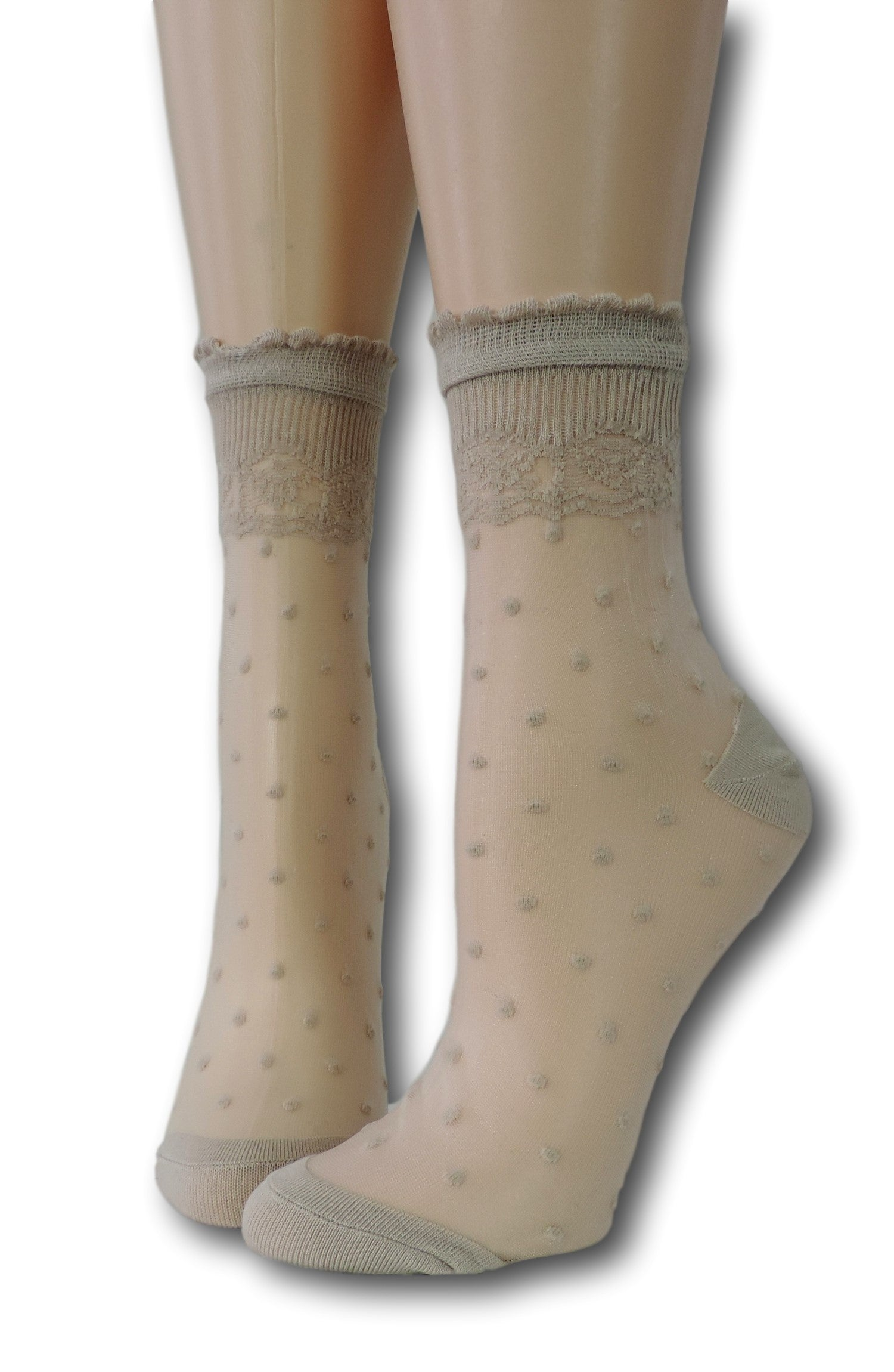 Heavy Cream Royal Dotted Sheer Socks