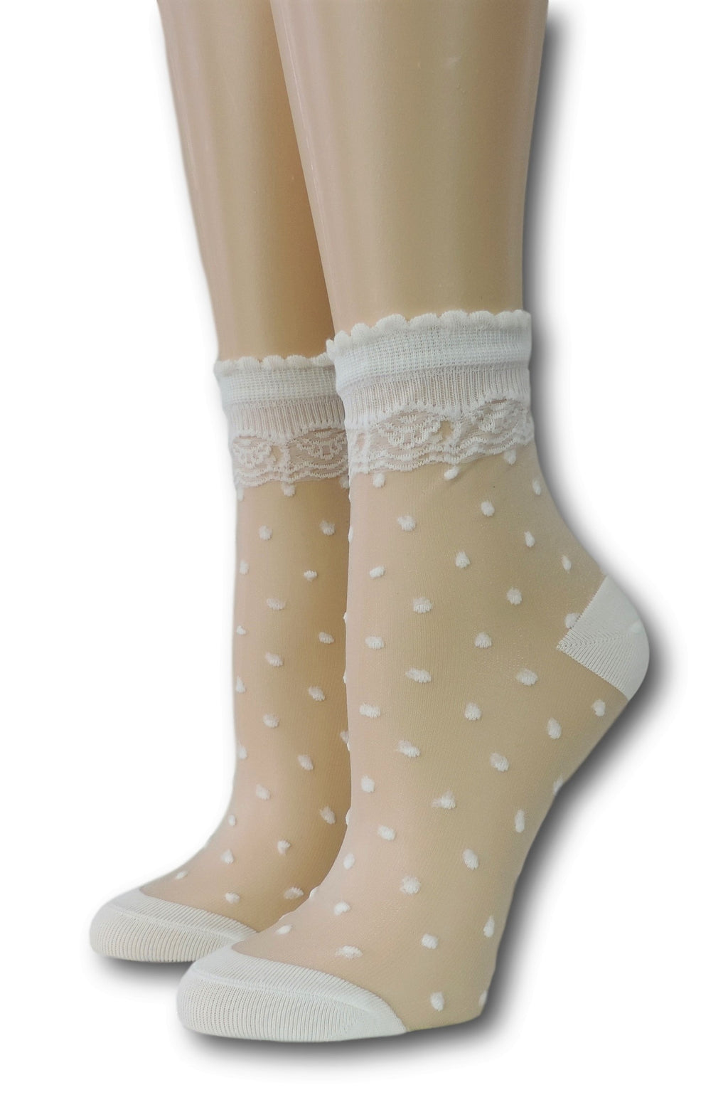 White Royal Dotted Sheer Socks