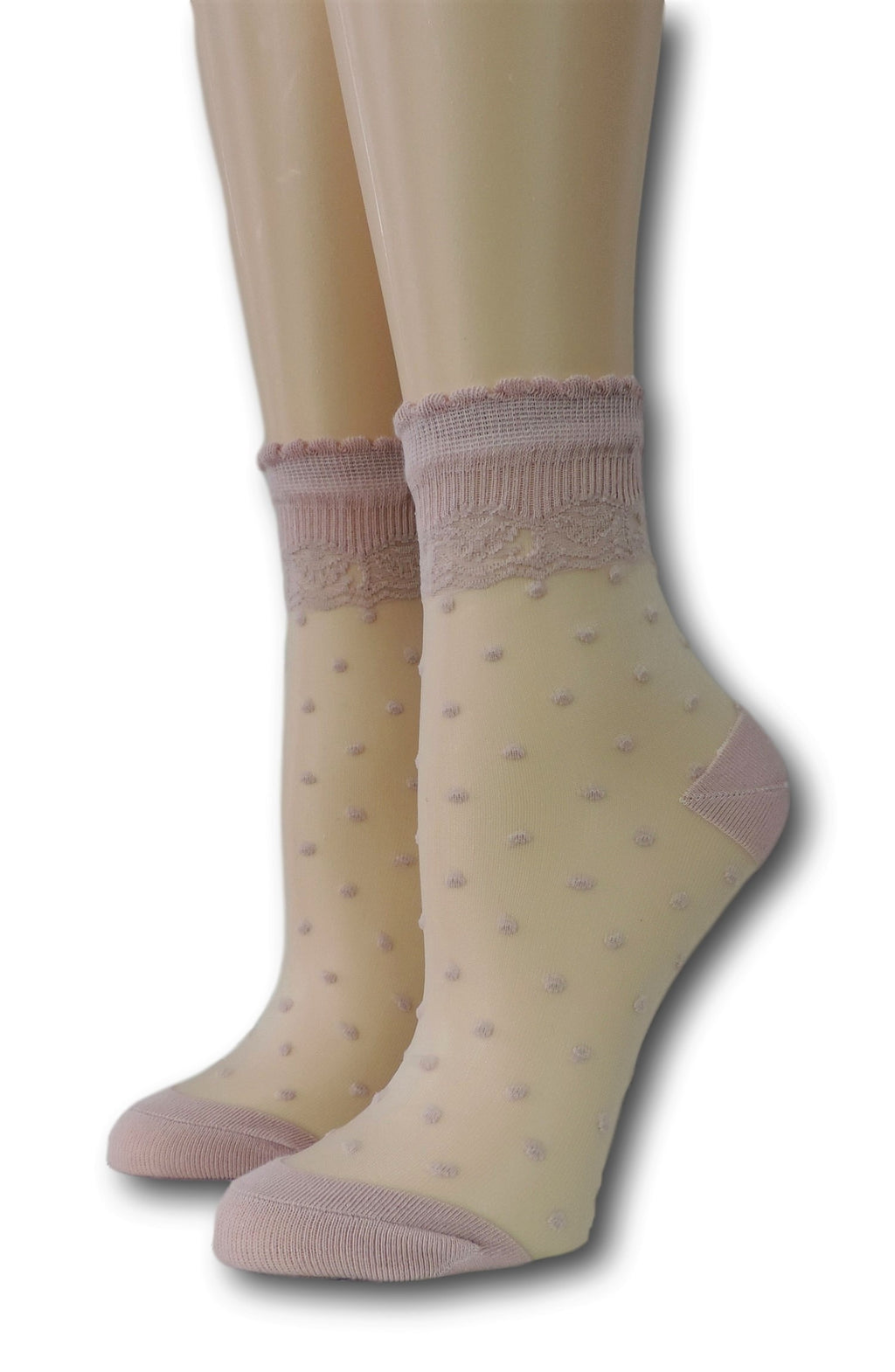 Soft Berry Royal Dotted Sheer Socks