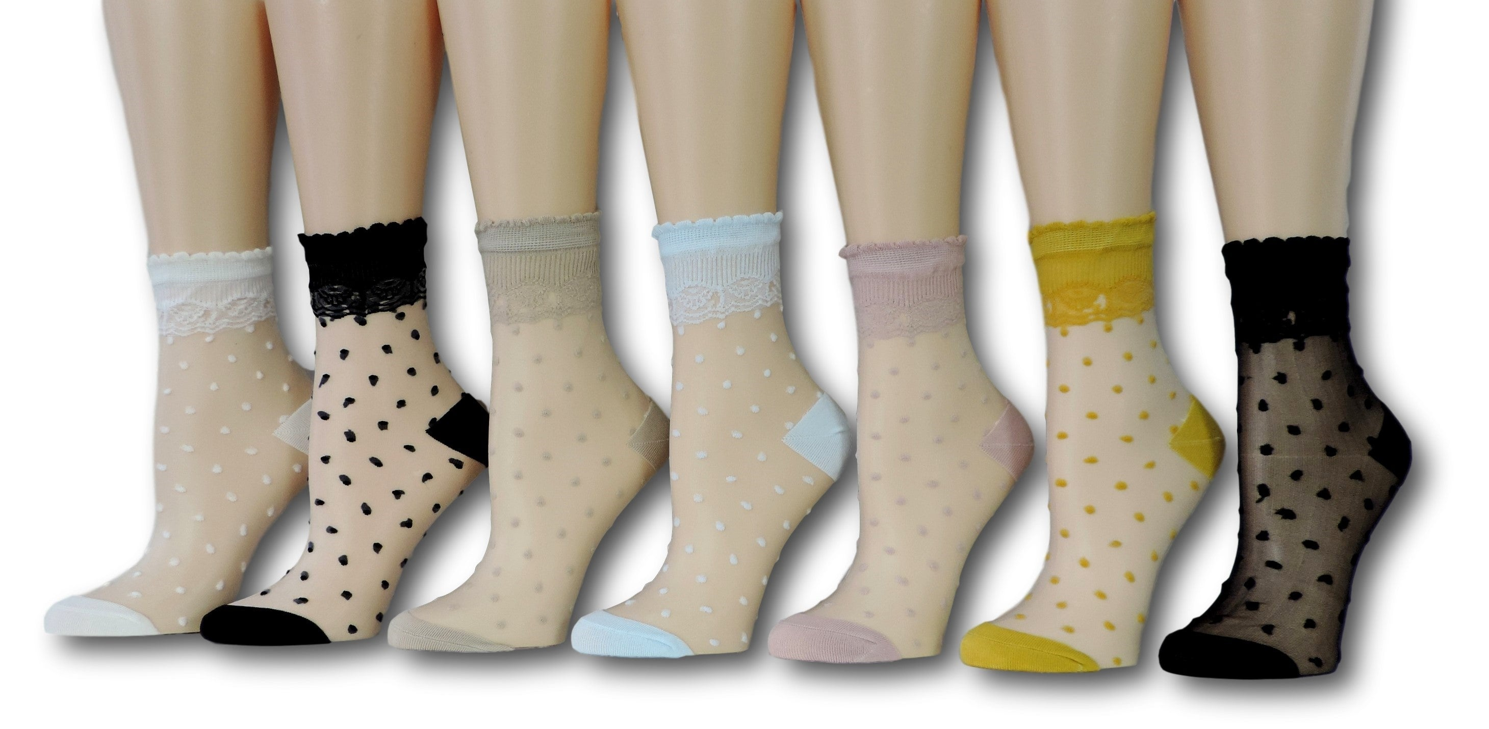 Polka Sheer Socks (Pack of 7 Pairs)