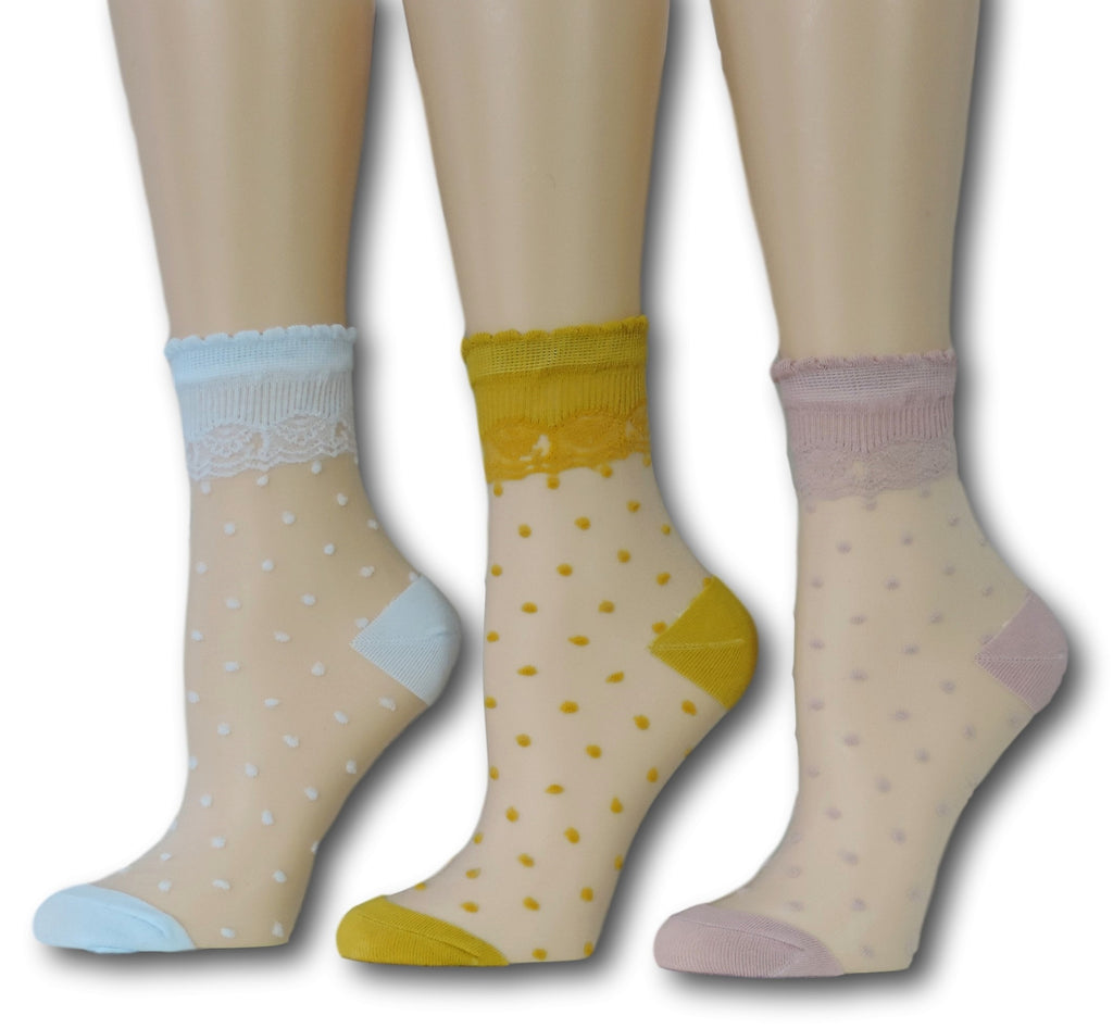 Polka Sheer Socks (Pack of 3 Pairs)
