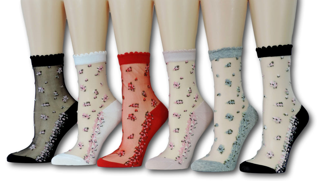 Mini Flowers Sheer Socks (Pack of 6 Pairs)