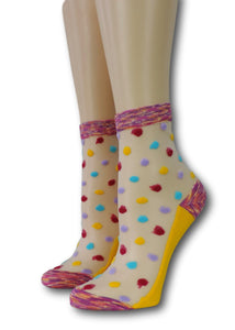 Bright Coloured Polka Sheer Socks