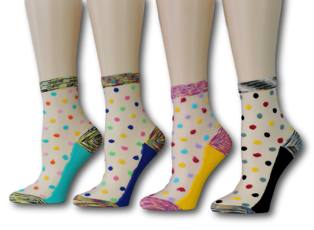 Polka Sheer Socks (Pack of 4 Pairs)