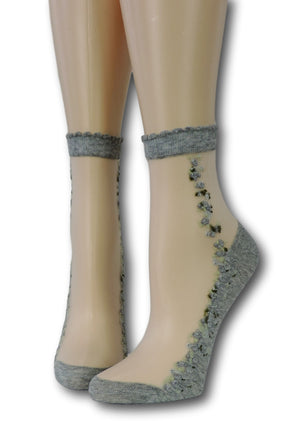 Grey Blooming Sheer Socks