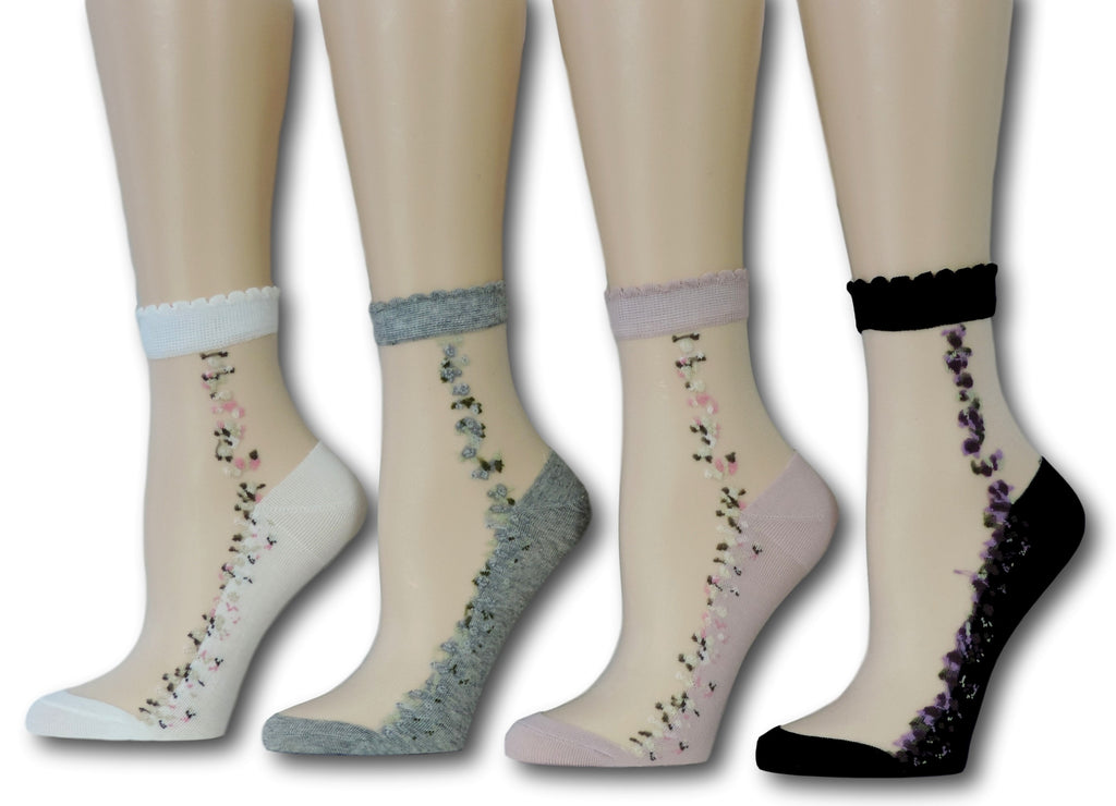 Floret Sheer Socks (Pack of 4 Pairs)