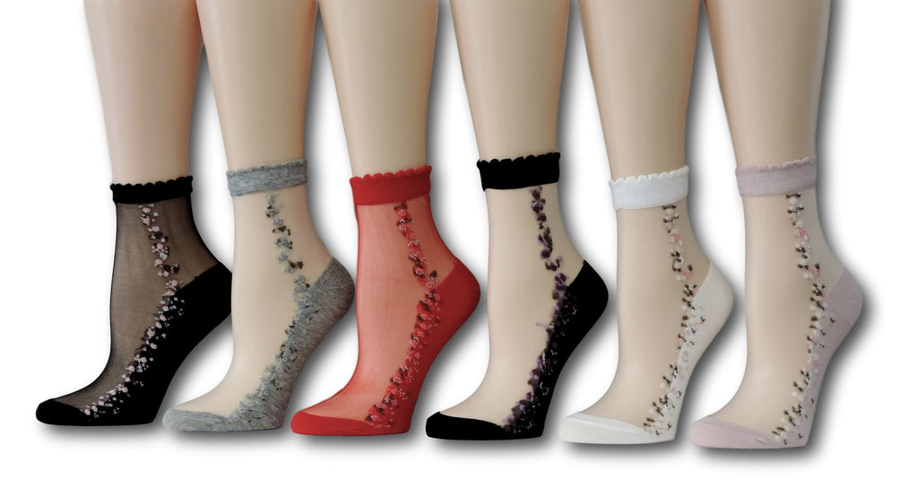 Floret Sheer Socks (Pack of 6 Pairs)