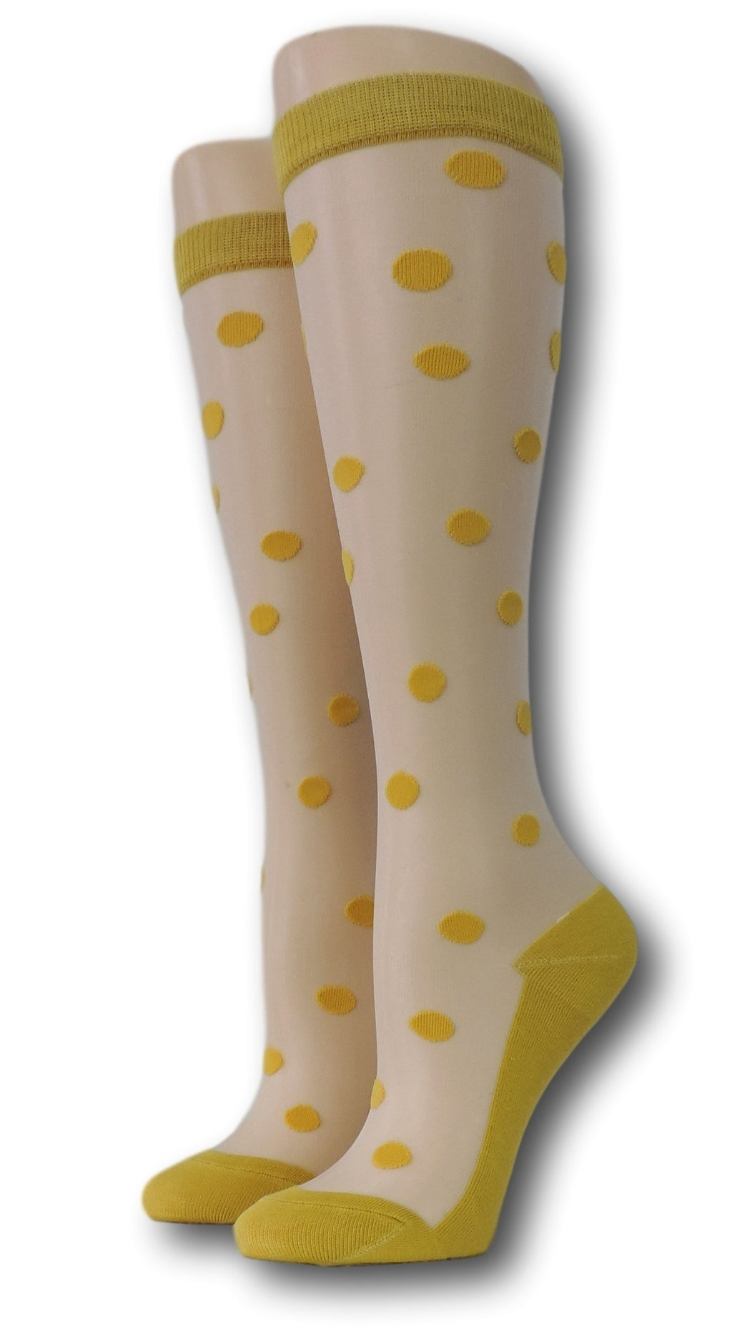 Yellow Polka Knee High Sheer Socks