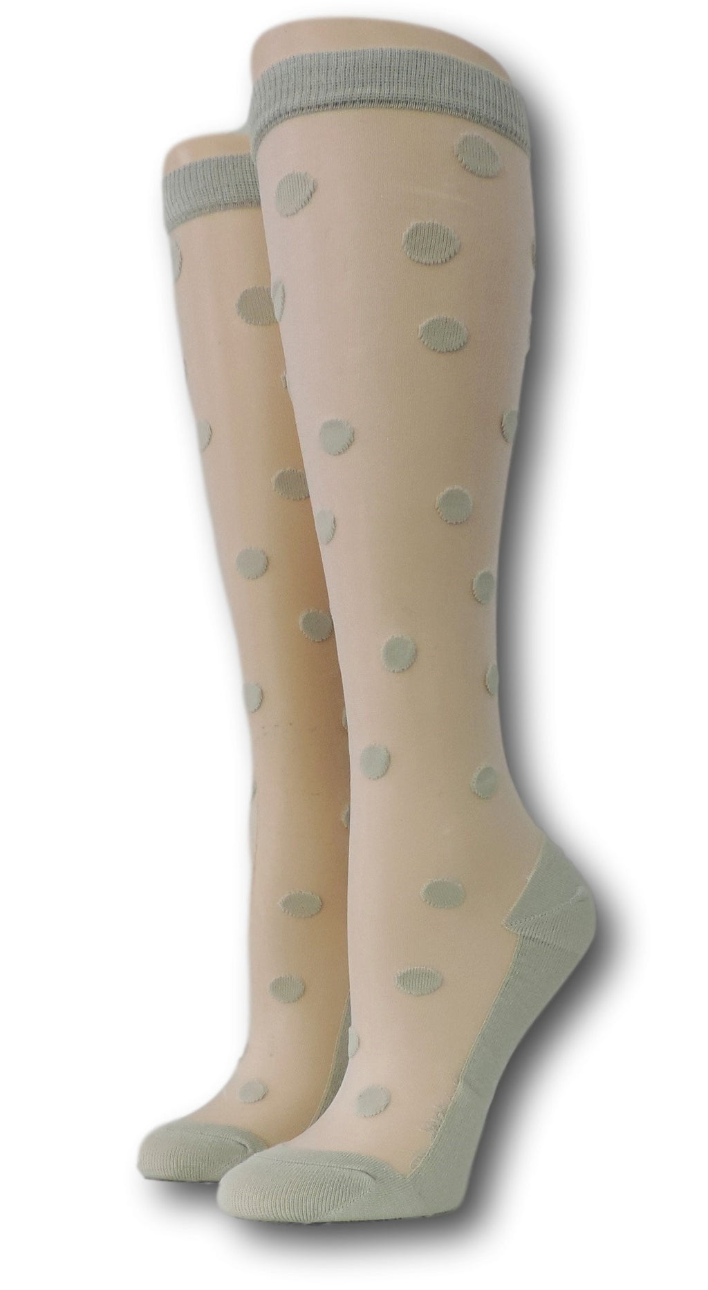 Rhino Polka Knee High Sheer Socks