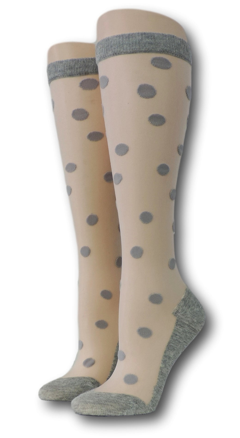 Grey Polka Knee High Sheer Socks