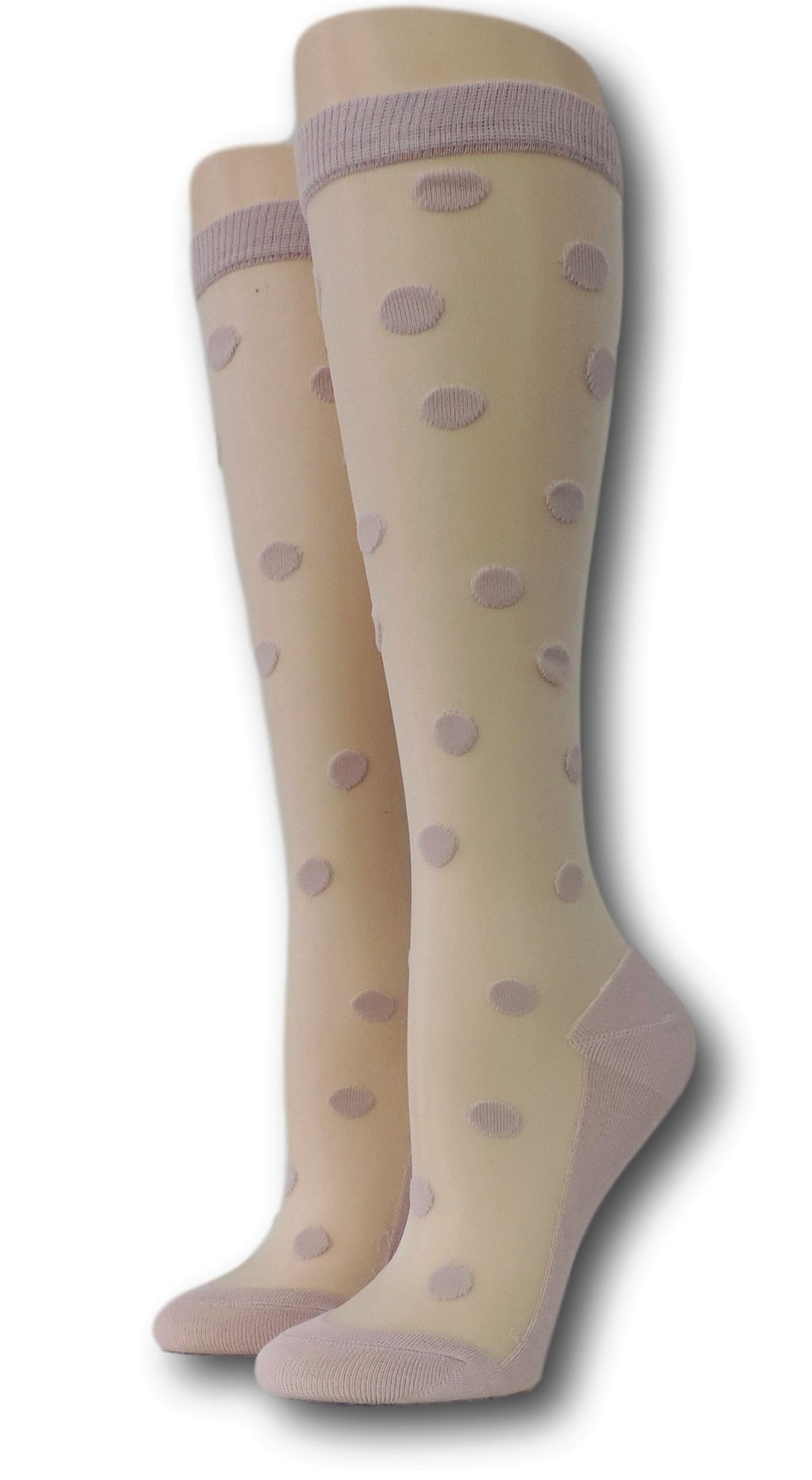 Pink Polka Knee High Sheer Socks