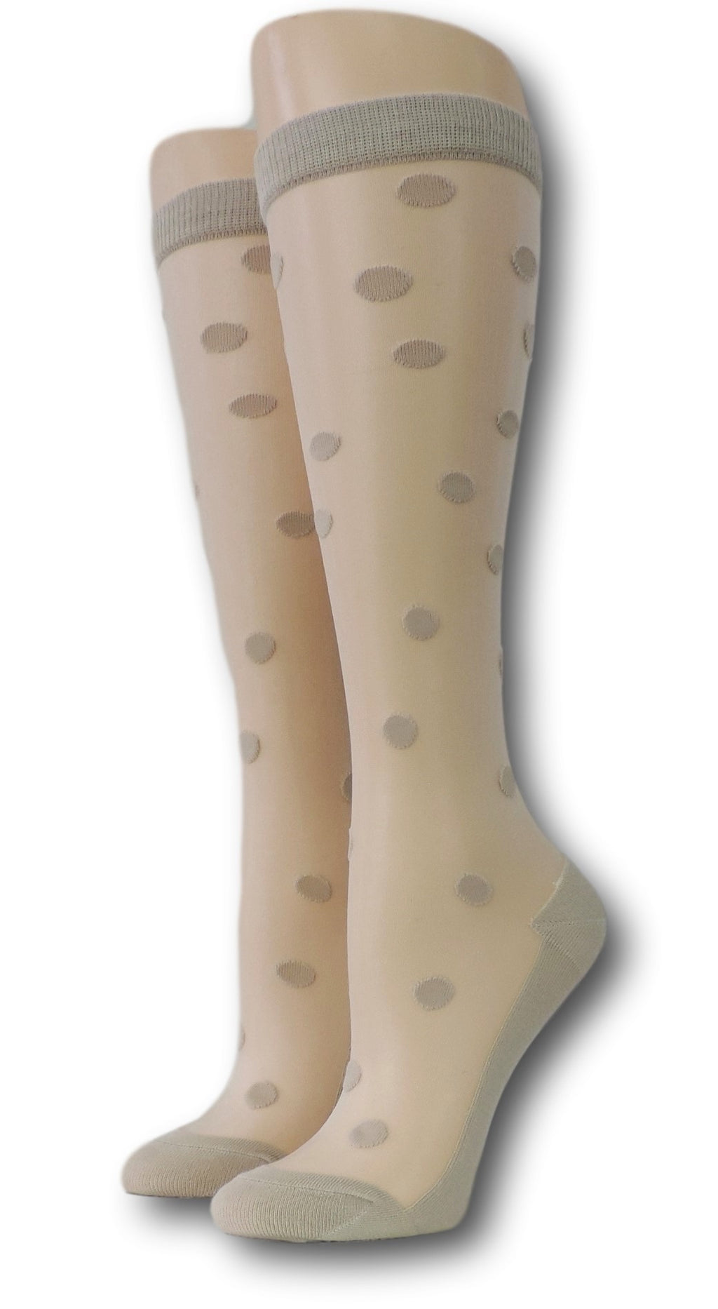 Teal Polka Knee High Sheer Socks