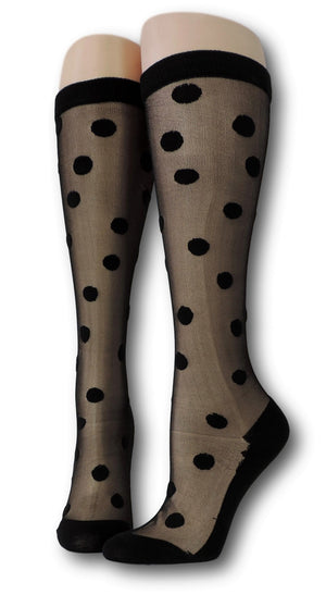 Charcoal Polka Knee High Sheer Socks