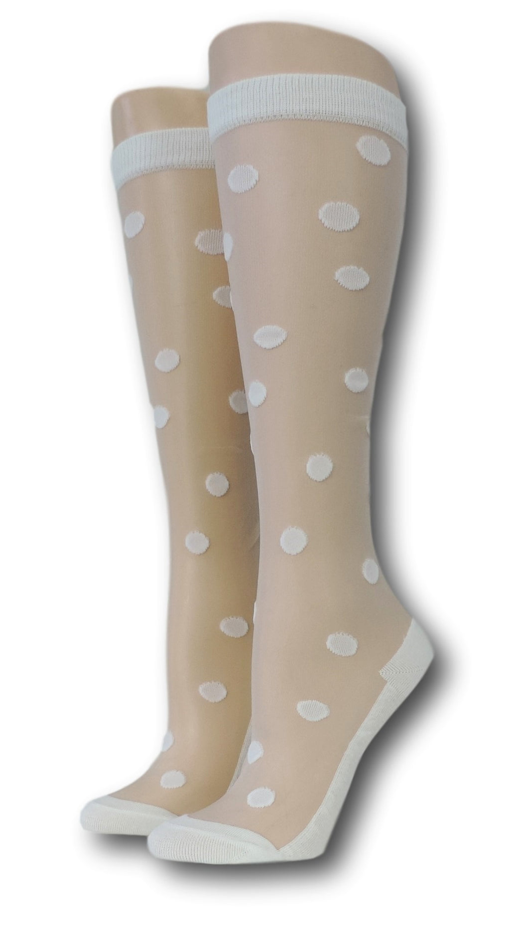 White Polka Knee High Sheer Socks