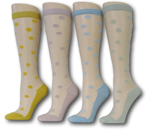 Knee High Polka Sheer Socks (Pack of 4 Pairs)